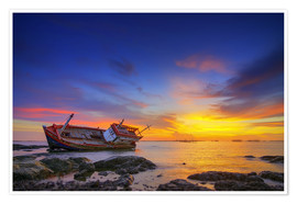 Póster Premium  Shipwreck in the sunset