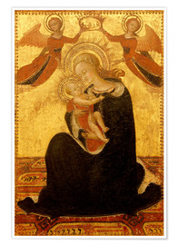 Póster Premium Madonna and Child with Angels