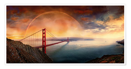 Póster Premium  Frisco Golden Gate Rainbow - Michael Rucker