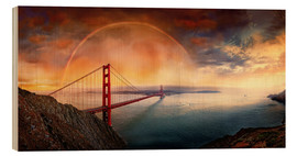Quadro de madeira  Frisco Golden Gate Rainbow - Michael Rucker