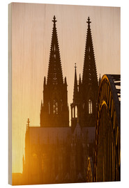 Quadro de madeira  Sunset behind the Cologne Cathedral