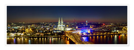 Póster Premium  A panoramic view of cologne at night