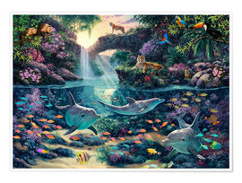 Póster Premium  Jungle Paradise - Steve Read