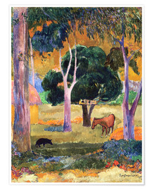 Póster Premium Landscape with a Pig and a Horse (Hiva Oa)