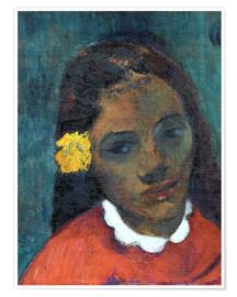 Póster Premium Head of a Tahitian woman listening Flower