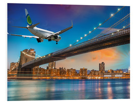 Quadro em PVC  Aircraft flying over Brooklyn Bridge in New York