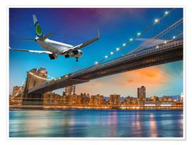 Póster Premium  Aircraft flying over Brooklyn Bridge in New York