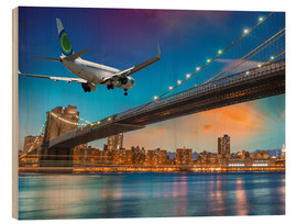Quadro de madeira  Aircraft flying over Brooklyn Bridge in New York