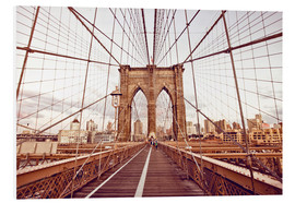 Quadro em PVC  New York Brooklyn Bridge and city skyline