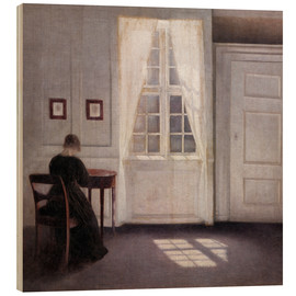 Quadro de madeira  Interior from Strandgade with sunlight on the floor - Vilhelm Hammershøi
