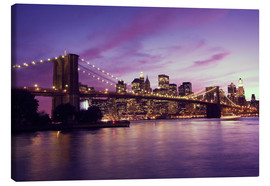 Quadro em tela  Brooklyn Bridge and Manhattan at purple sunset