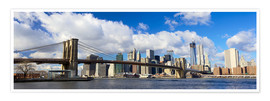 Póster Premium  Panoramic Brooklyn Bridge and Manhattan skyline