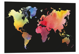 Quadro em PVC  World map in water color