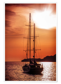 Póster Premium  Old ship sailing to the sunset