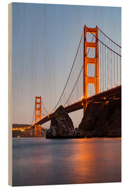 Quadro de madeira  ?San Francisco Golden Gate Bridge at sunset