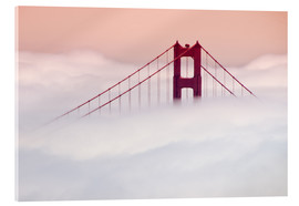 Quadro em acrílico  Golden Gate Bridge in the clouds