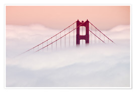 Póster Premium  Golden Gate Bridge in the clouds