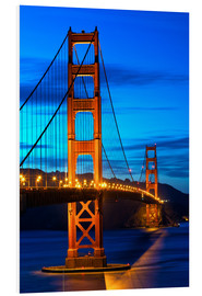 Quadro em PVC  Golden Gate Bridge at sunset, San Francisco
