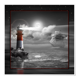 Póster Premium Lighthouse and Sailboat in the Moonlight
