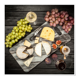 Póster Premium  Wine and cheese still life