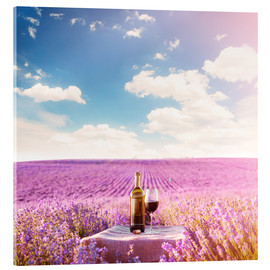 Quadro em acrílico  Red wine bottle and wine glass in lavender field