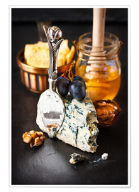 Póster Premium  Delicious blue cheese with honey