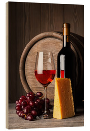 Quadro de madeira  Red wine with cheese and grapes