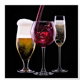 Póster Premium  drinks - beer, wine and champagne