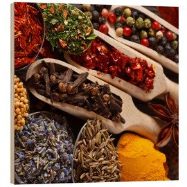 Quadro de madeira  Colorful spices and herbs