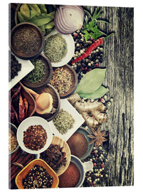 Quadro em acrílico  Spices And Herbs On Rusty Old Wood