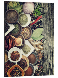 Quadro em alumínio  Spices And Herbs On Rusty Old Wood