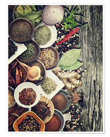Póster Premium  Spices And Herbs On Rusty Old Wood