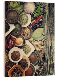 Quadro de madeira  Spices And Herbs On Rusty Old Wood