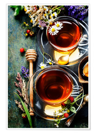 Póster Premium  Herbal tea with honey, berry and flowers