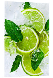 Quadro em acrílico  lime slices with ice and peppermint leaves
