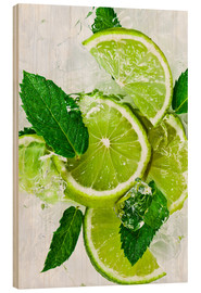 Quadro de madeira  lime slices with ice and peppermint leaves