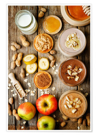 Póster Premium  peanut butter smoothie with chocolate, apples, banana and oats