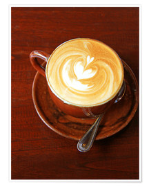 Póster Premium  Cappuccino with heart shape