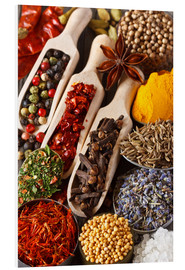 Quadro em PVC  Colorful aromatic spices and herbs