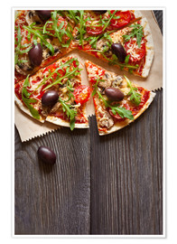 Póster Premium  Pizza with mushrooms and arugula