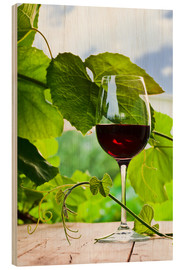 Quadro de madeira  glass with red wine in vineyard