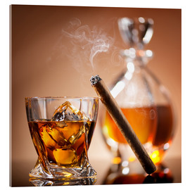 Quadro em acrílico  Cigar on glass of whiskey with ice cubes