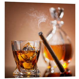 Quadro em PVC  Cigar on glass of whiskey with ice cubes