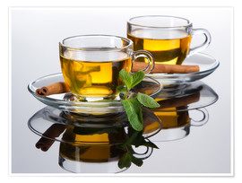 Póster Premium  Tea cup with fresh mint leaves