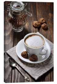 Quadro em tela  Cup of coffee with cookies