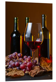 Quadro em PVC  red wine with grapes and vine leaves