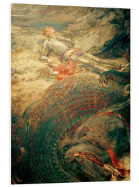 Quadro em PVC  Saint George and the Dragon - Briton Riviere