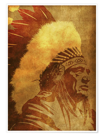 Póster Premium Native American retro