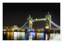 Póster Premium  Tower bridge at night