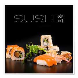 Póster Premium Sushi on black